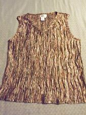LADIES COLDWATER CREEK SHEER CRINKLED SLEEVELESS V NECK  TANK sz M