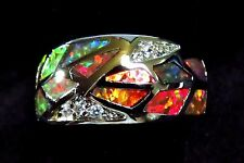 "Sterling 925 Silver SF Size 6 Ring Orange Lab Fire Opal & White Topaz 3/8"" Wide"