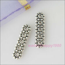 50Pcs New Tibetan Silver Tone Charms 5Holes Spacer Bars Connectors 4x17mm