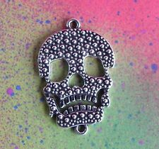 Silver Sugar Skull Double Connector Motorcycle Pendant Charms for Jewelry Making