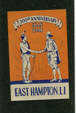 Poster Stamp Label EAST HAMPTON LONG ISLAND 300TH Ann 1948 Indian Pilgrim #IM