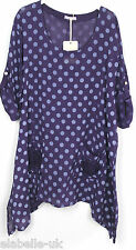 Ladies Italian Quirky Lagenlook Polka Dot Flower Pocket Design Linen Tunic Top