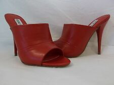 Steve Madden Size 5.5 Red Leather Open Toe Heels New Womens Shoes