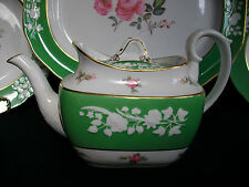 SPODE #R7062-MARITIME ROSE (c.1930) TEAPOT-GREEN/WHITE/GILT-GREAT-CRACKED BOTTOM