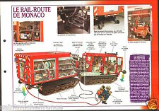 Fire engine Railway Rail-Route/Chenille Tunnels Monaco FICHE Pompier FIREFIGHTER