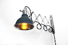 Industrial Scissor Lamp - Black Wire - Accordion Arm Wall Light - Steam Punk