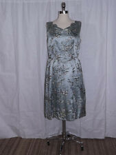Silvery Blue Satin Petite Floral Brocade Vtg 1950s Cocktail Dinner Dress 38 Bust