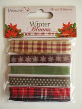 Dovecraft Winter Blooms - 5 Christmas Ribbons - tartan  snowflakes  green  red