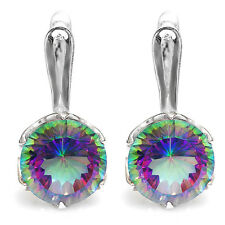 Natural Mystic Rainbow Topaz Earrings Clip Solid 925 Sterling Silver Gemstone