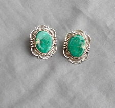 Navajo Made Signed  Sterling  Green Fox Mine Turquoise Earrings Bennie Ration