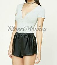 SEXY BLACK VEGAN FAUX SOFT LEATHER STUDDED JOGGER STRETCH WAIST SHORTS L