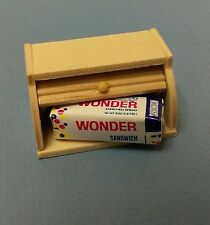 Dollhouse Miniature 1:12 scale kitchen wood bread box & loaf wonder bread