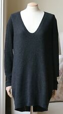 DUFFY RIBBED CASHMERE KNIT SWEATER DRESS MEDIUM