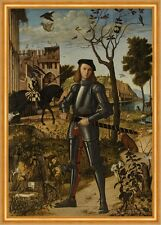 Young Knight in a Landscape Carpaccio Ritter Rüstung Mittelalter B A2 03416