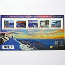 Unesco world heritage sites in Canada 5 post stamps block