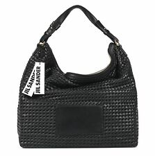 "NWT JIL SANDER BLACK LEATHER WOVEN  ""ZIPPER HOBO"" SHOULDER HANDBAG"
