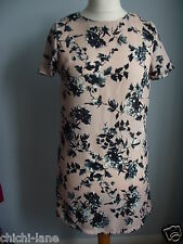 BLACK & PINK FLORAL PRINT SHORT DRESS SIZE 10 EVENING PARTY OR CASUAL (R8061)