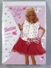 NIB BARBIE DOLL FASHION GREETING CARD WITH DRESS I LOVE YOU VALENTINES DAY