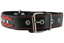 "Braided Studded Leather Dog Collar 1.6"" wide 19""-24"" neck  for Larges Dogs"