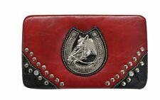 RED REAL LEATHER WESTERN STYLE WALLET WITH ENGRAVED HORSE HEAD / HORSE SHOE