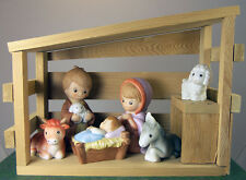 6 pc Bisque Porcelain NATIVITY set with Musical Wooden STABLE plays SILENT NIGHT