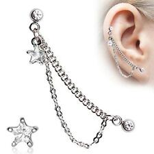 "1 - 16 Gauge 1/4"" Clear Star Double Chained Cartilage Dangling Stud Earring A82"