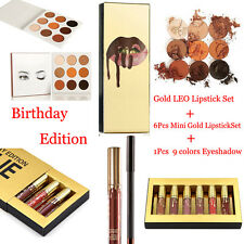 Eyeshadow Palette + Matte Liquid Gold Lipstick Birthday Xmas Gift Makeup Set Kit
