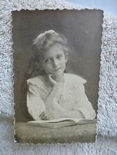 Linen RPPC Gentle Tender Girl Chin on Hand old Real Photo Postcard d1914