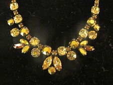 "Vintage rhinestone amber necklace .""Regency"""