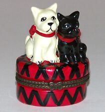 Porcelain Pill Box Dogs Westie Highland Black Terrier Snuff Trinket