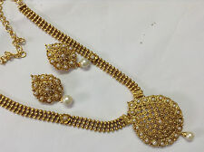 south indian temple jewellery gold tone pearl DESIGN  necklace set and earring