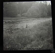 Glass Magic Lantern Slide SALMON FISHING RIVER DEE DATED JULY 1929 SCOTLAND
