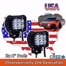 2x 4Inch 18W CREE Led Work Light Cube Pods Off Road Driving Jeep Truck SUV ATV 3