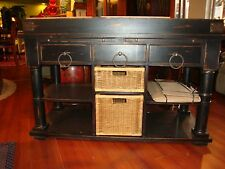 Chic Retreat Distressed Black Kitchen Island Butcher Block with Marble Top