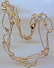 """SINGLE STRAND YELLOW GOLD PLATED 5.75 CT TW 36"""" RUSSIAN CZ BY THE YARD NECKLACE"""