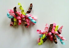 Gymboree Girls Hair Clips x 2 - Pink, Green, Blue and Brown, Brand New (G21)