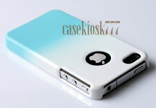 for iPhone 4 4s  hard back case plus screen protector blue and white rubberi zed