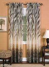 2 Panels Kenya Zebra Leopard Curtain IN HAND Safari Decor Brown Animal Print 84