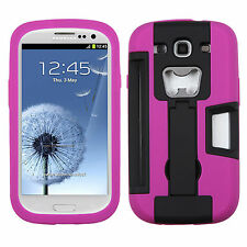 Samsung Galaxy S III S3 KICKSTAND Case Bottle Opener Card Holder Black Purple