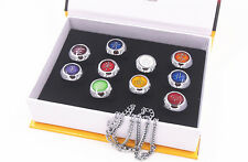 Anime Naruto Shippuden Akatsuki Member Cosplay Rings Necklace Metal Toy Set New