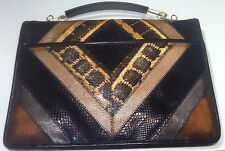 Bags by Varon, Vintage Genuine Leather Snakeskin Clutch Purse with Handle