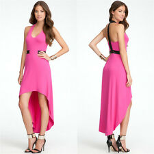 BEBE PINK HALTER LEATHERETTE T BACK HIGH LOW DRESS NEW SMALL S