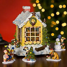 Disney Mickey Mouse Pluto Snowglobe and Christmas Figurine Set