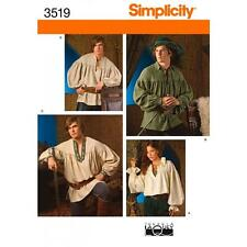 SIMPLICITY SEWING PATTERN MISSES MENS & TEENS COSTUME SHIRTS XS - XL  3519