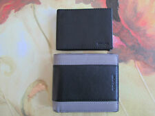 NWT Coach Men's Heritage Sport Compact Leather ID Wallet F74792 Slate / Black