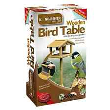 LARGE WOODEN BIRD TABLE WITH BUILT IN FEEDER FREE STANDING BIRD FEEDING STATION