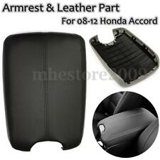 Real Leather Console Lid Armrest Cover Fits 2008-2012 Honda Accord Black
