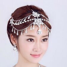 Bridal Rhinestone crystal dangle faux pearl forehead Maang tikka Headpiece HR336