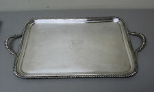 """19th C. ENGLISH OLD SHEFFIELD PLATE (OSP) SILVER PLATE 19"""" ENGRAVED SERVING TRAY"""