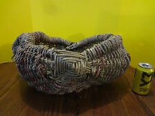 Vintage Braided Laundry Decorative Clothes Wicker Basket Round, Colors w Handles